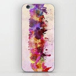Curitiba skyline in watercolor background iPhone Skin