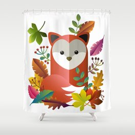 Cute Fox with Autumn Leaves Shower Curtain