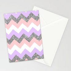 purple & coral chevron Stationery Cards