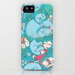 Sleepy Animal Forest iPhone Case