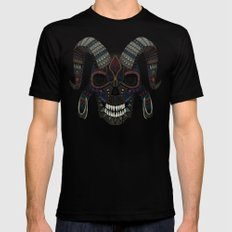 demon skull ochre Mens Fitted Tee Black SMALL