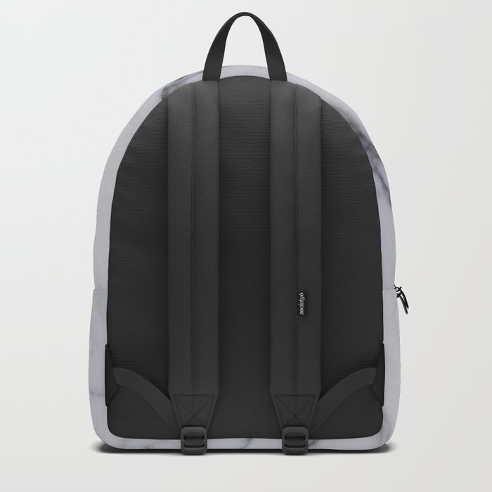 Marble - Black and White Gray Swirled Marble Design Backpack