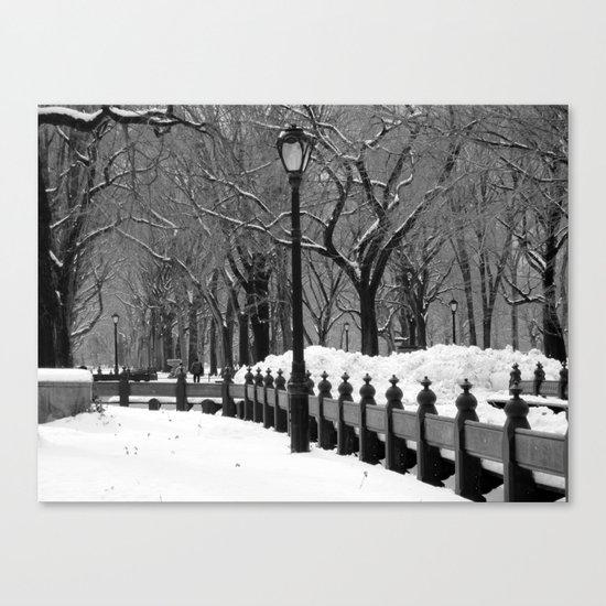 """Central Park in Winter"" Black & White Canvas Print"