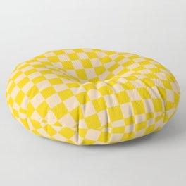 Deep Peach Orange and Amber Orange Checkerboard Floor Pillow