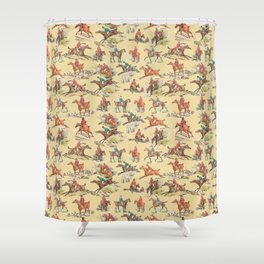 HORSE RIDING IN THE FIELD Shower Curtain