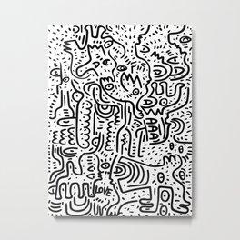 Street Art Graffiti Love Black and White Metal Print