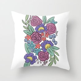 Retro Loose Florals, Purple and Pink Flowers Throw Pillow