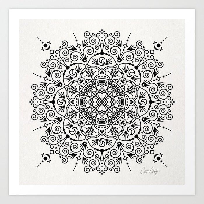 Moroccan Mandala – Black Ink Art Print