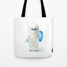 White Yeti Minifig eating an icecream Tote Bag