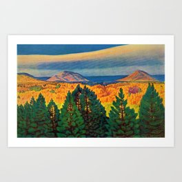 Across the Colorful Autumn Valley with Mountains by Rockwell Kent Art Print