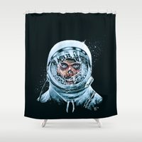 spaceman Shower Curtains featuring Zombie Spaceman by Bryan Politte