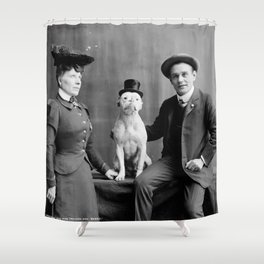 Vintage Photo of Dog Smoking Cigarette, 1900 Shower Curtain