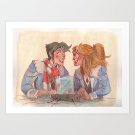 Learning together Art Print