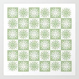 Mid Century Modern Sun Pattern Sage Green Kunstdrucke