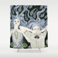 swim Shower Curtains featuring Swim by Yuliya