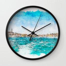 Aquarelle sketch art. Boat trip Rovinj. View to the city. Wall Clock