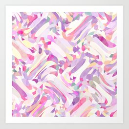 Calypso Pattern in Purple, Pink, Yellow and White Art Print