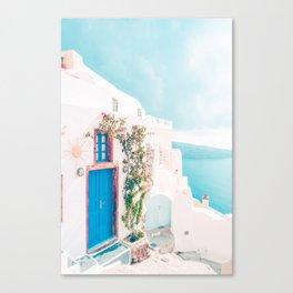 Santorini Greece Cozy blush travel photography in hd. Canvas Print