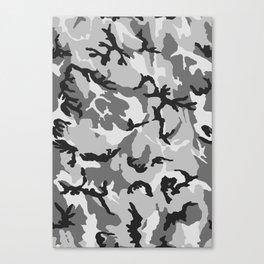 Grey White Black Camouflage Canvas Print