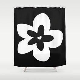 Black and White Plumeria Shower Curtain