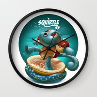 squirtle Wall Clocks featuring Squirtle by Danilo Fiocco