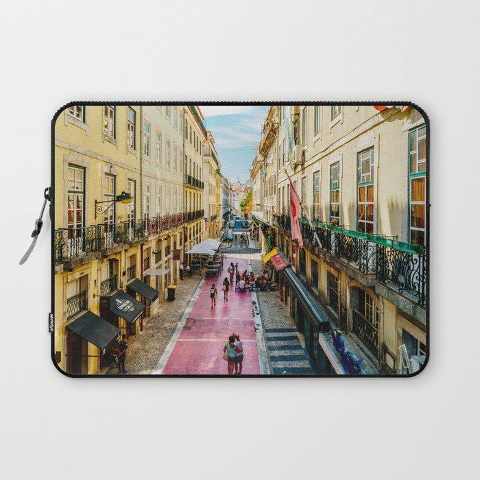 Beautiful Pink Street Downtown Lisbon City, Wall Art Print, Modern Architecture Art, Poster Decor Laptop Sleeve