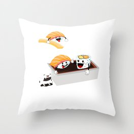 Sushi Poolparty funny Japanses Food Rice and Fish present gift Throw Pillow