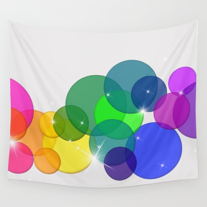 Translucent Rainbow Colored Circles with Sparkles - Multi Colored Wall Tapestry