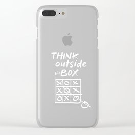 Think Outside the Box Tic Tac Toe Funny Playing Games Humor Gifts Clear iPhone Case