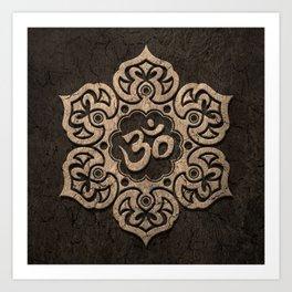Aged Stone Lotus Flower Yoga Om Art Print