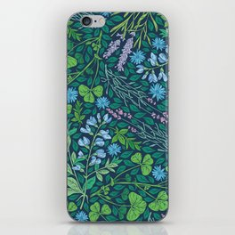 Lavender and lupine with cornflowers on herbal background iPhone Skin