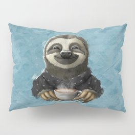 Sloth smilling with coffee latte Pillow Sham