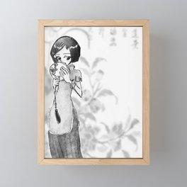 Chinese girl black and white Framed Mini Art Print