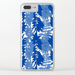 60's Chinoiserie Vines in White + Blue Clear iPhone Case