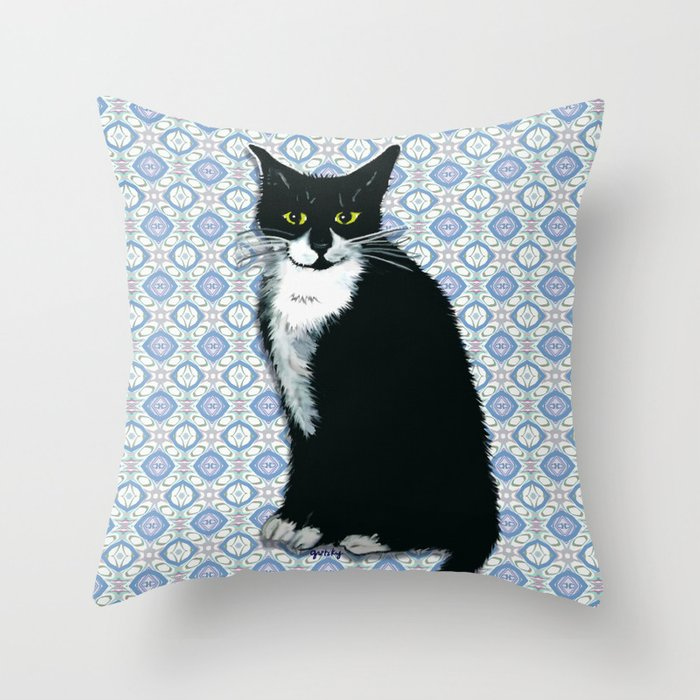 Cute Tuxedo Cat Throw Pillow By Catattack Society6