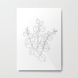 Minimalistic Eucalyptus  Line Art Metal Print