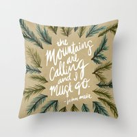 the mountains are calling Throw Pillows featuring Mountains Calling – Kraft by Cat Coquillette