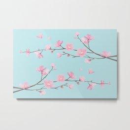 Cherry Blossom - Sky Blue Metal Print