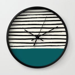 Dark Turquoise & Stripes Wall Clock