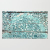 botanical Area & Throw Rugs featuring Teal & Aqua Botanical Doodle on Weathered Wood by micklyn