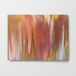 Blush with Gold Abstract Metal Print