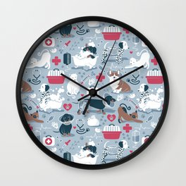 Veterinary medicine, happy and healthy friends // pastel blue background Wall Clock