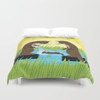 otters Duvet Covers featuring An Otter's Paradise by Oliver Lake