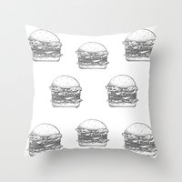burger Throw Pillows featuring Burger by Les Très Tresses
