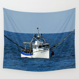 Fishing on the Sea 3 of 3 Starboard side view Wall Tapestry