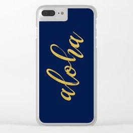 Aloha gold brush script on midnight navy blue glam summer design Clear iPhone Case