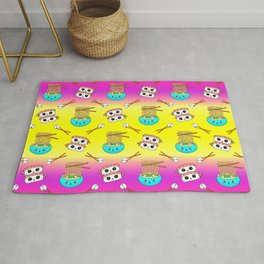 Cute funny Kawaii chibi little blue bowl ramen noodles, happy cheerful sushi with shrimp on top, rice balls and chopsticks bright yellow and pink pattern design. Nursery decor. Rug