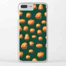 Illustrated Pumpkin Pattern Clear iPhone Case