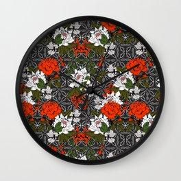 Dark Floral Mosaic Pattern I Wall Clock