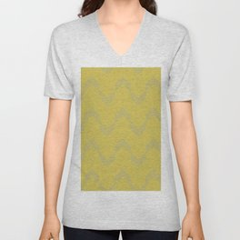 Simply Deconstructed Chevron Retro Gray on Mod Yellow Unisex V-Neck